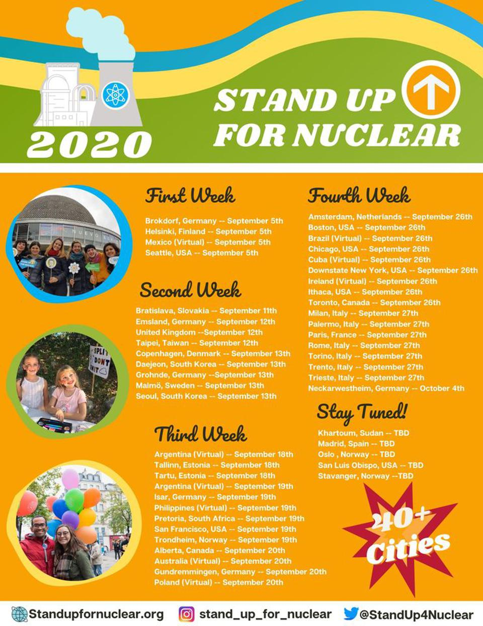 Flyer showing that pro-nuclear activists intend to demonstrate in over 40 cities.