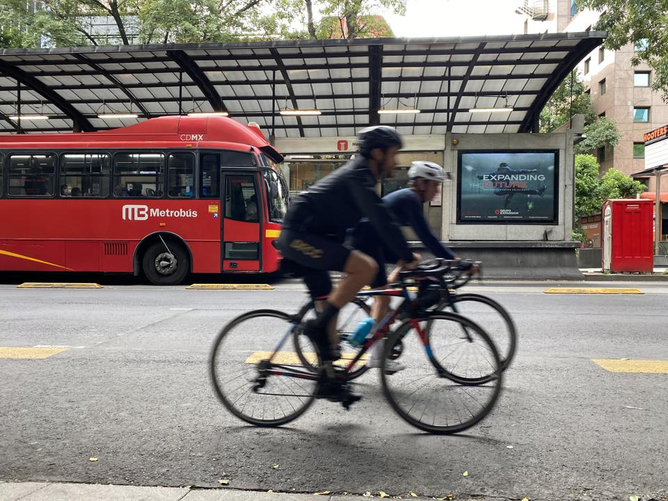 Cyclists ride in Mexico City.
