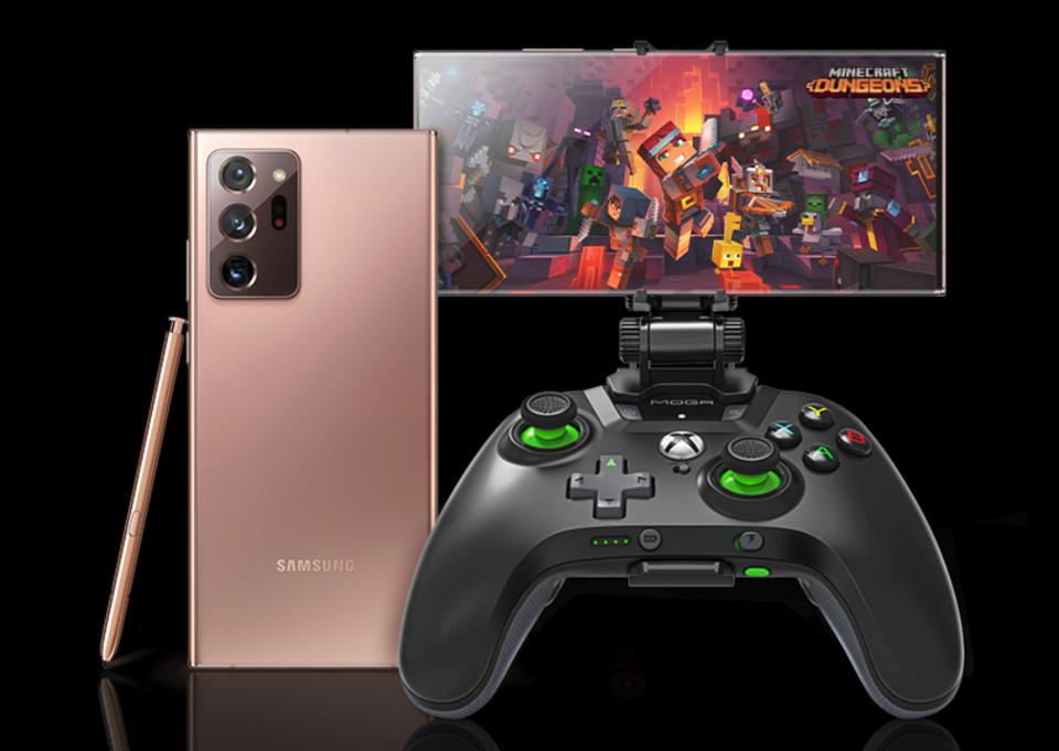 The Samsung Galaxy Note 20 running cloud gaming service Xbox Game Pass Ultimate.