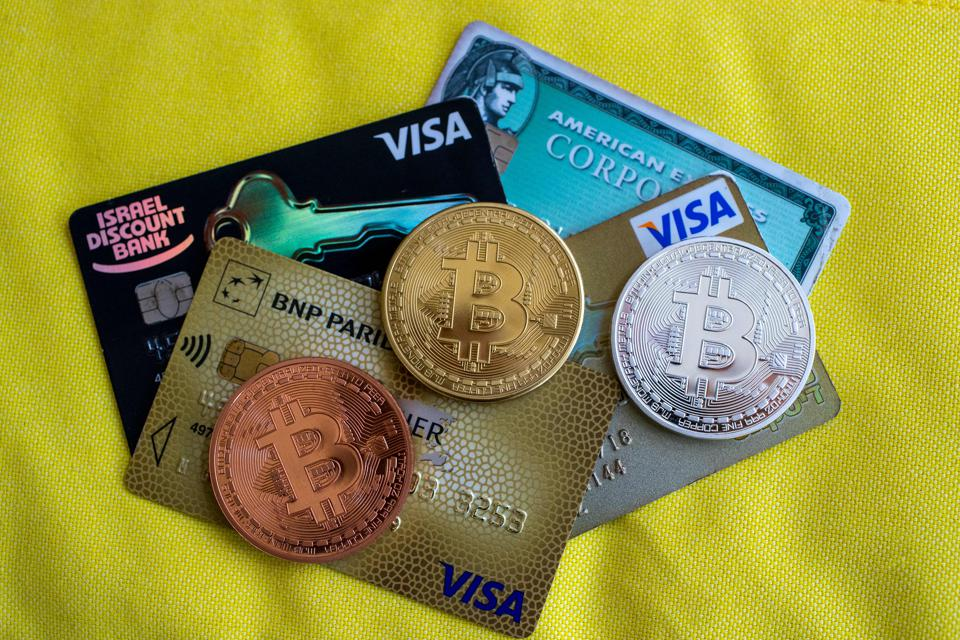 Visa, Mastercard, PayPal, bitcoin, cryptocurrency, image