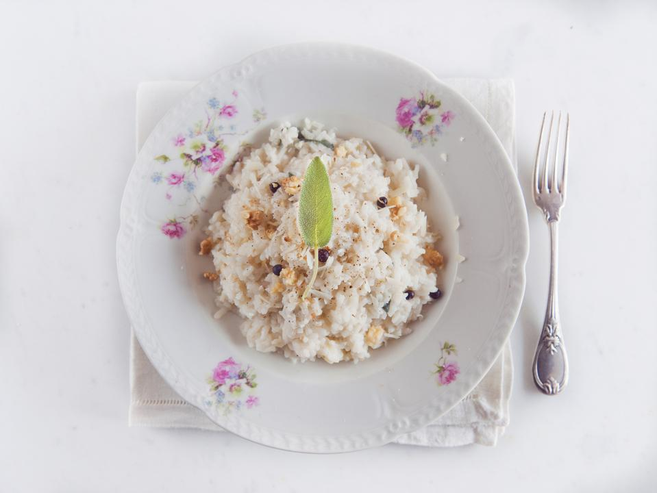 Risotto with walnuts, sage, Fontina cheese and juniper berries.