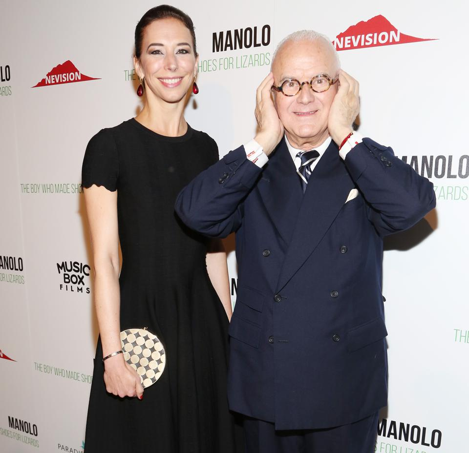 Kristina and Manolo Blahnik at the premiere of ″Manolo: The Boy Who Made Shoes for Lizards″ in 2017