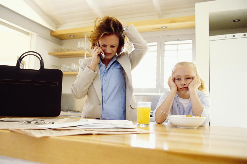 Stressed woman with girl