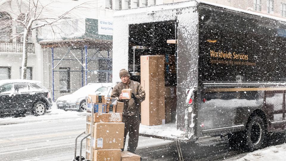 Unloading a UPS (United Parcel Service) truck on West 72nd...