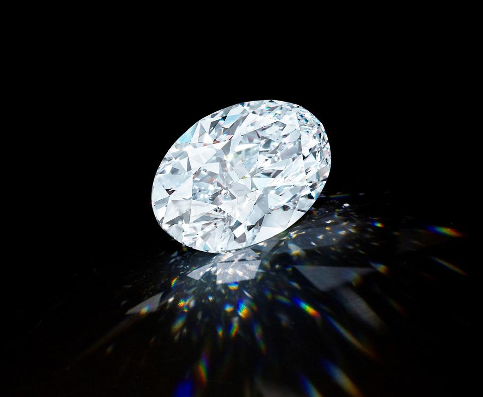 102.39-carat D-color flawless oval diamond sold in a combined online and live auction