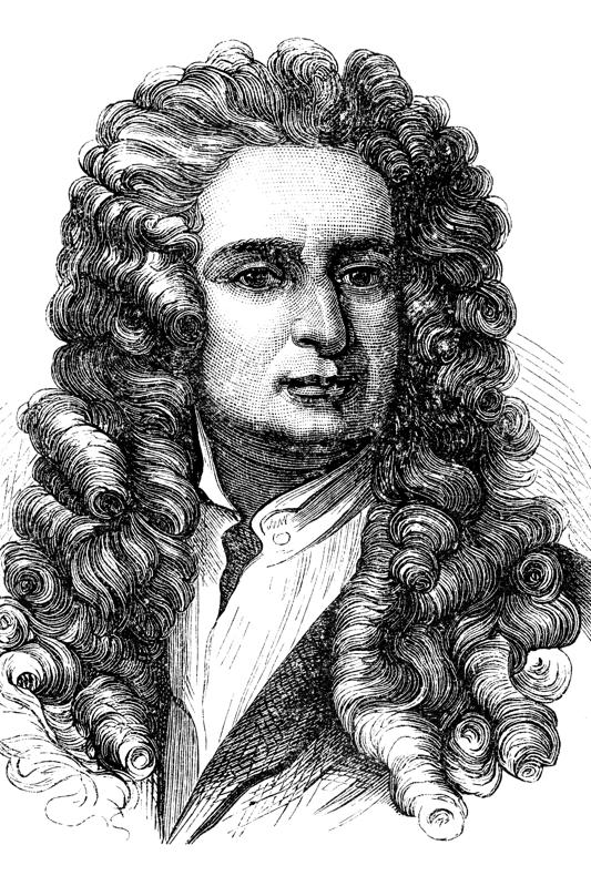 Engraving of physicist Isaac Newton from 1870