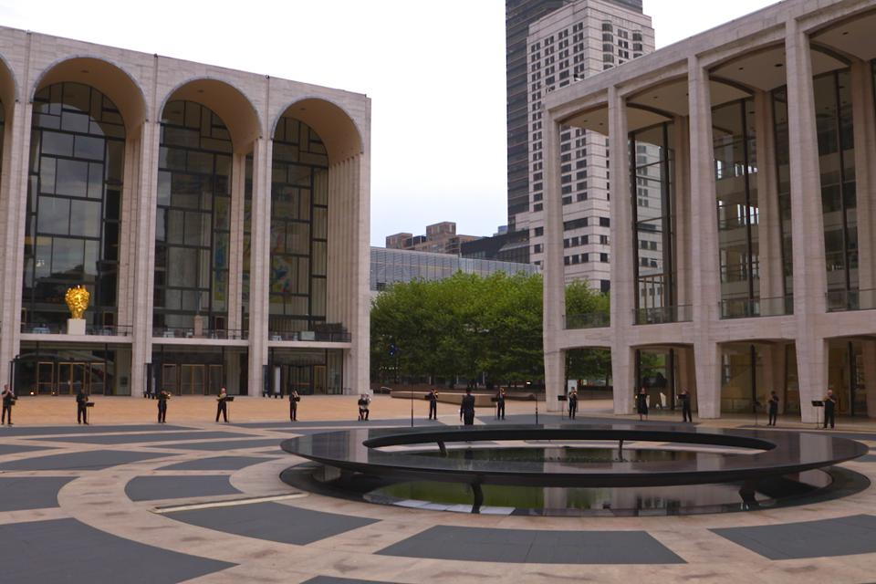 Lincoln Center campus during filming of ″Invictus″
