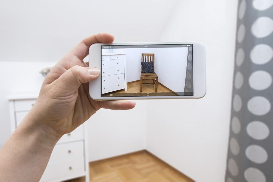 Mobile Phone displaying chair in room