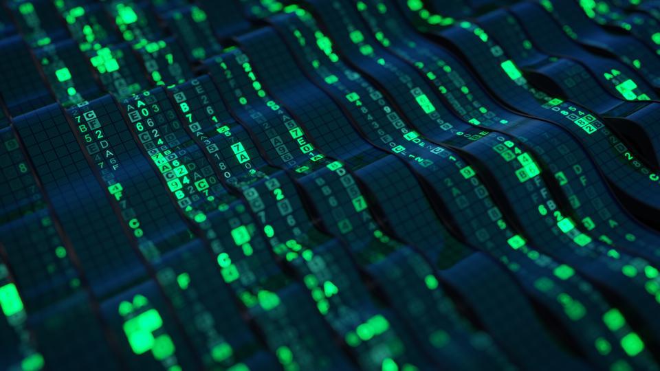 Green HEX digital data code on flexible screen 3D render