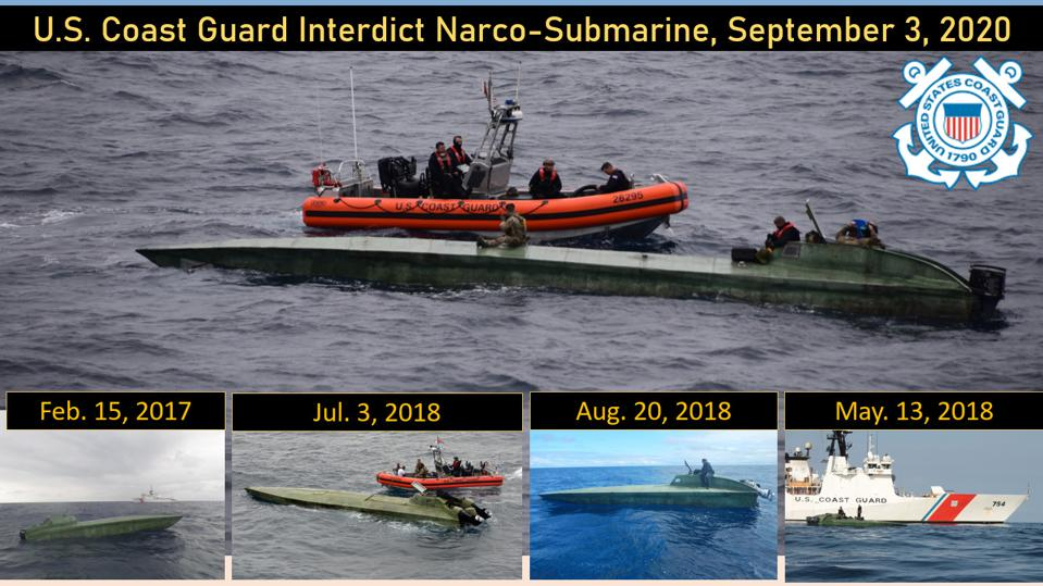 A Narco submarine, technically a low profile vessel (LPV) stopped by US Coast Guard