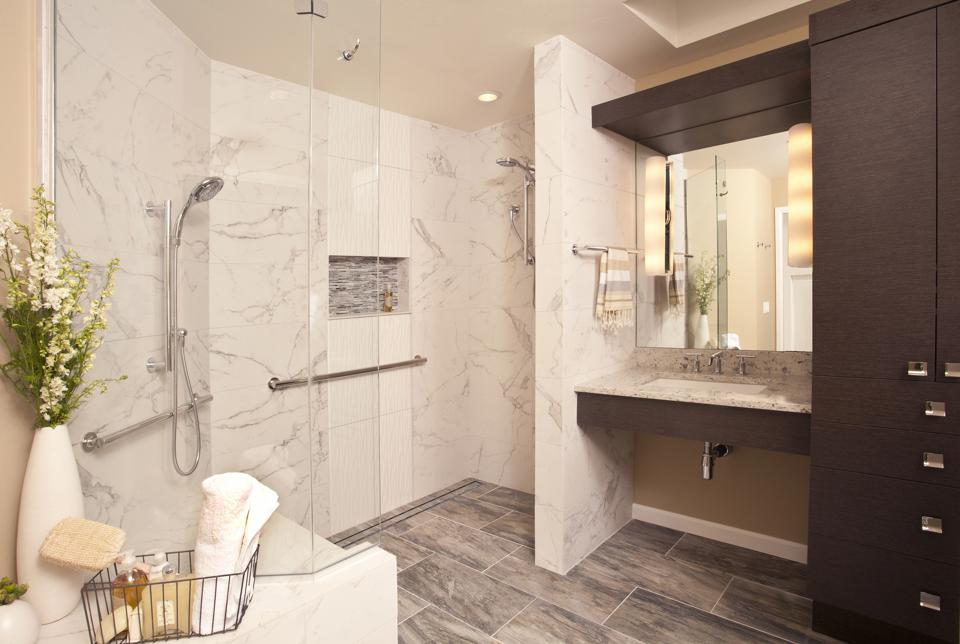 Bathroom with accessibility features