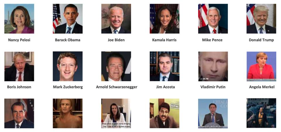 Politicians who have been most targeted by deepfake videos, according to CREOpoint.