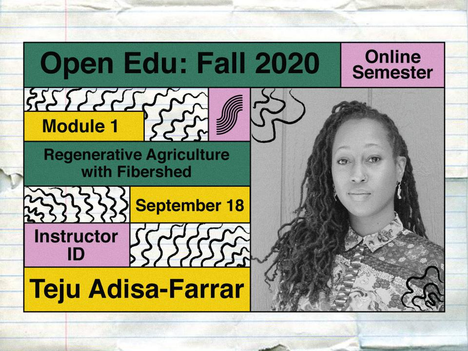 Geographer and writer, Teju Adisa-Farrar, who is instructing a course for the Slow Fashion Foundation Open Education program.
