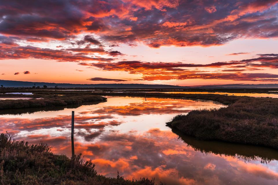 Sunset views of the tidal marshes of Alviso with colorful clouds reflected on the calm water surface, Don Edwards San Francisco Bay National Wildlife Refuge, San Jose, California