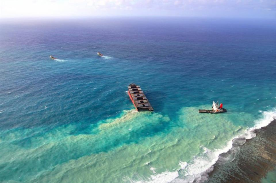 Experts believe the botched salvage operation could have caused as much permanent damage to Mauritius' lagoons as the oil spill itself, as harmful sediment is clearly seen swirling around the blue of the Indian Ocean.