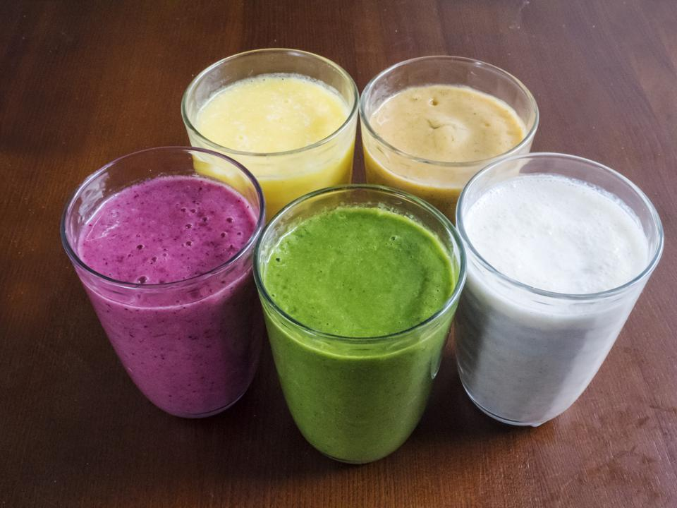 smoothies colorful glasses