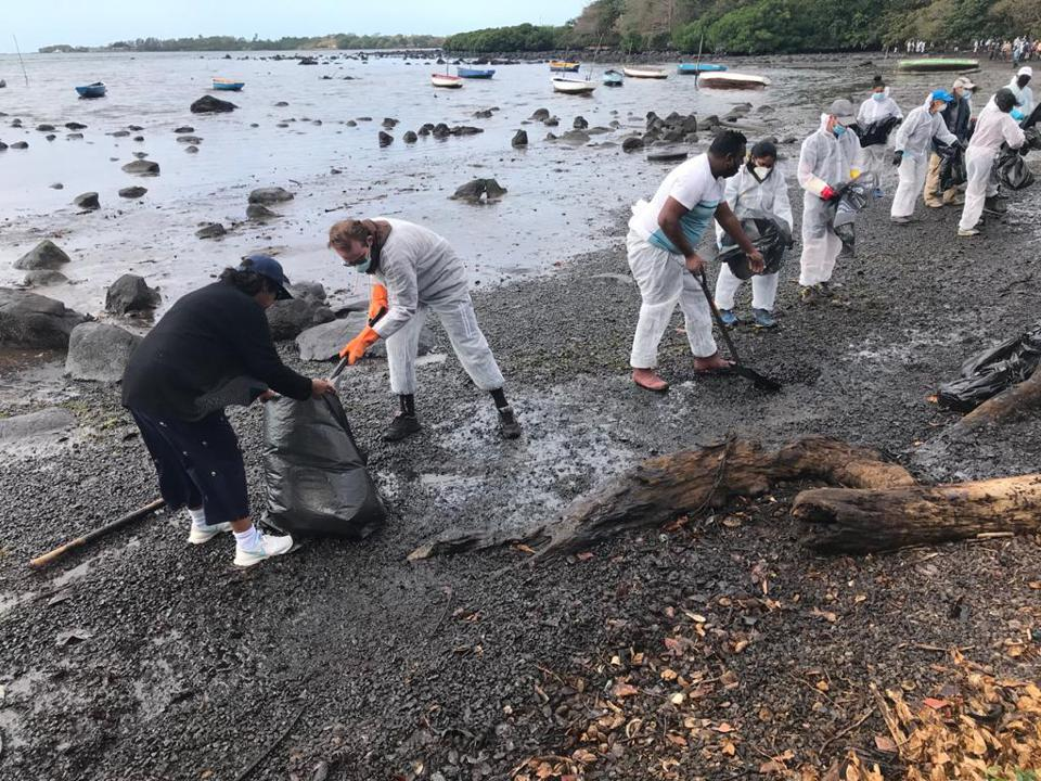 Former President of Mauritius and famous Biodiversity Scientist seen here in black helping the oil spill clean up operations.