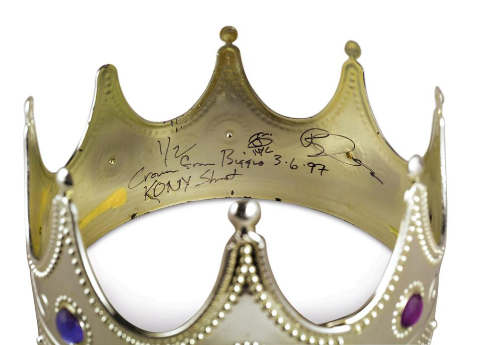 Biggie Smalls crown inscribed Crown from Biggie KONY Shot NYC 3-6-97. It fetched $594,750