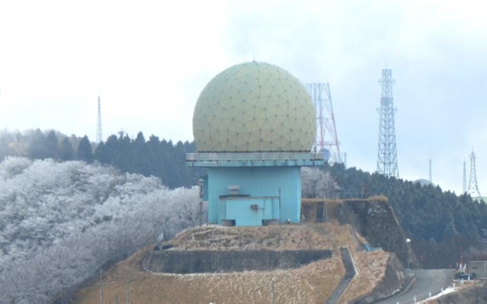 Spherical Japanese J/FPS-3 radar array at Seburiyama communication station.