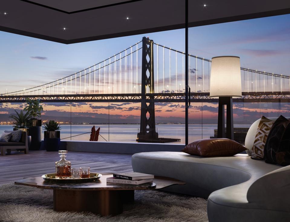 An apartment view of the San Francisco Bay Bridge.