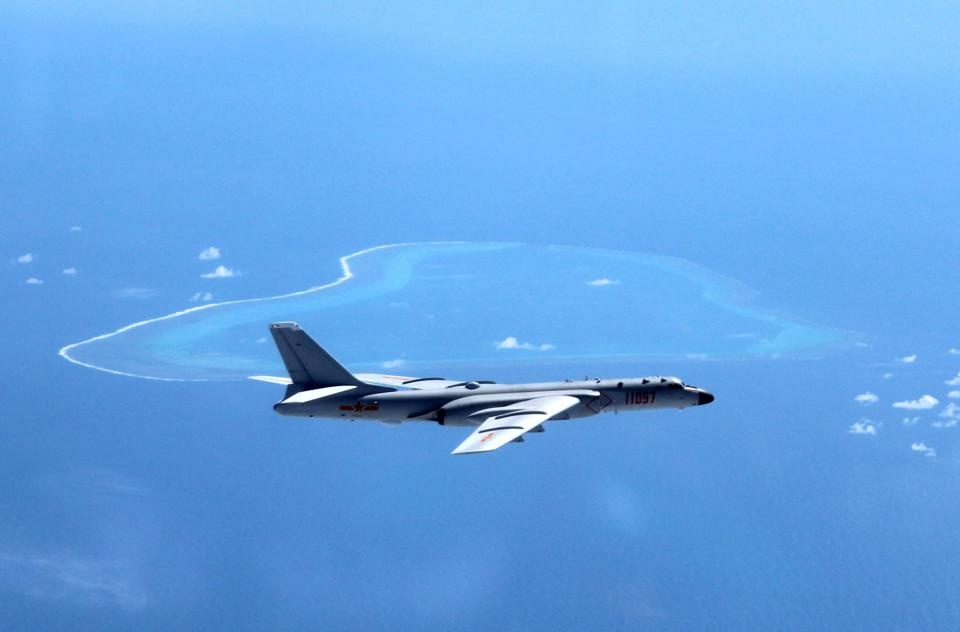 Chinese H-6K jet bomber overflying Huangyan island in Scarborough Shoal in South China Sea