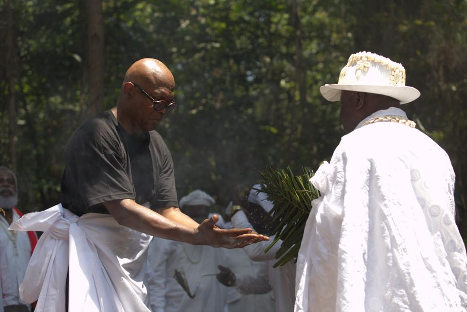 Samuel L. Jackson receives a traditional tribal blessing in Gabon.