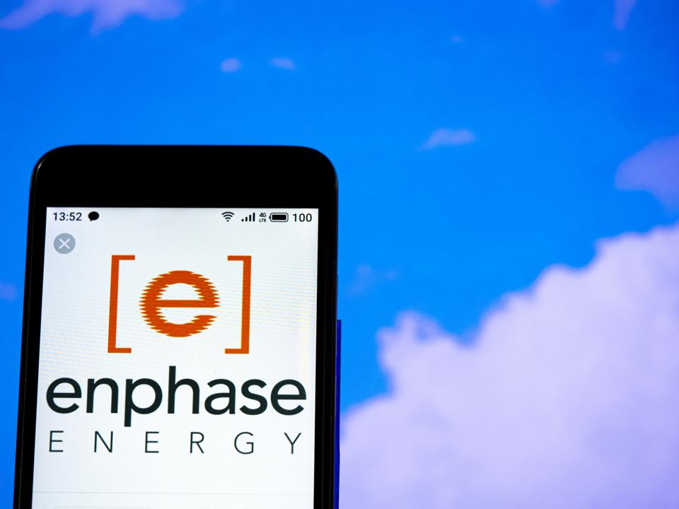 In this photo illustration the  Enphase Energy logo is seen...