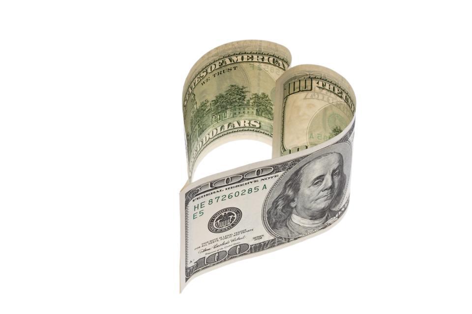 heart-shaped 100 Dollar banknote - 01.06.2010