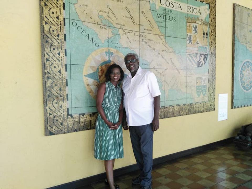 Kim Haas, the host of ″Afro-Latino Travels with Kim Haas,″ poses for a photo with Costa Rican writer Quince Duncan.