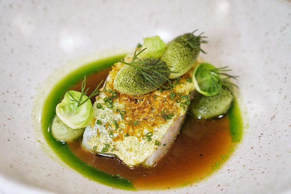 Fish with green herbs