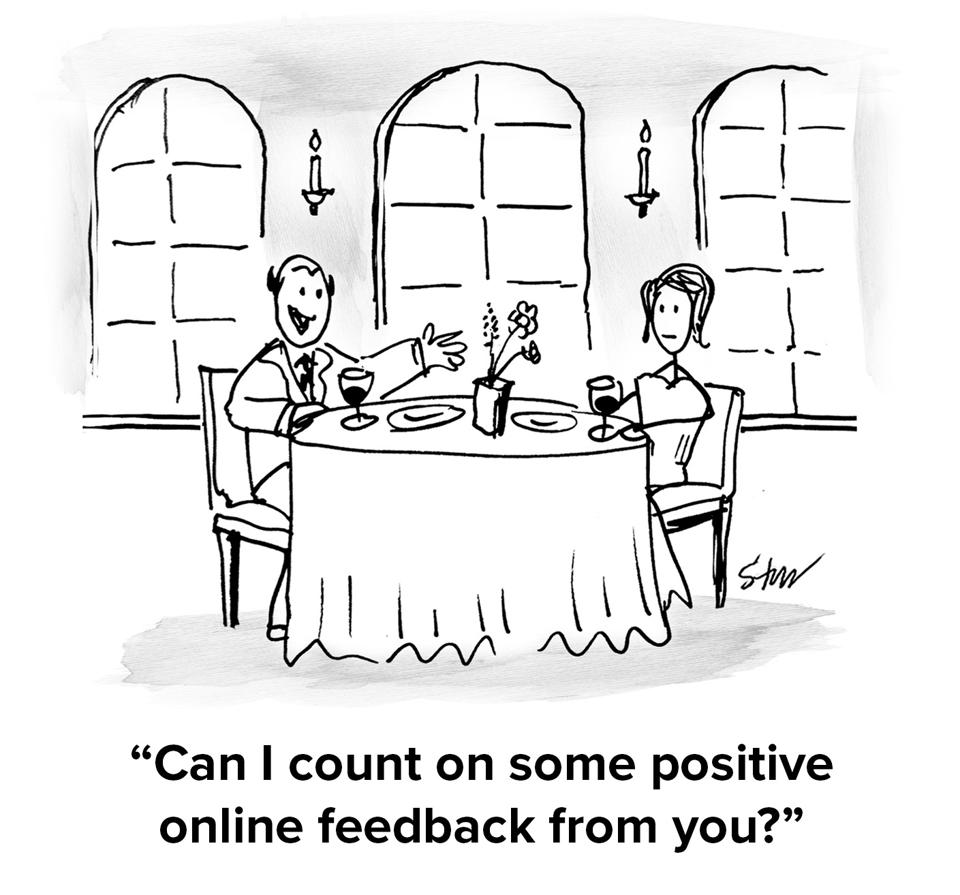 Two people on a date at a restaurant with the man asking the woman ″Can I count on some positive online feedback from you?″