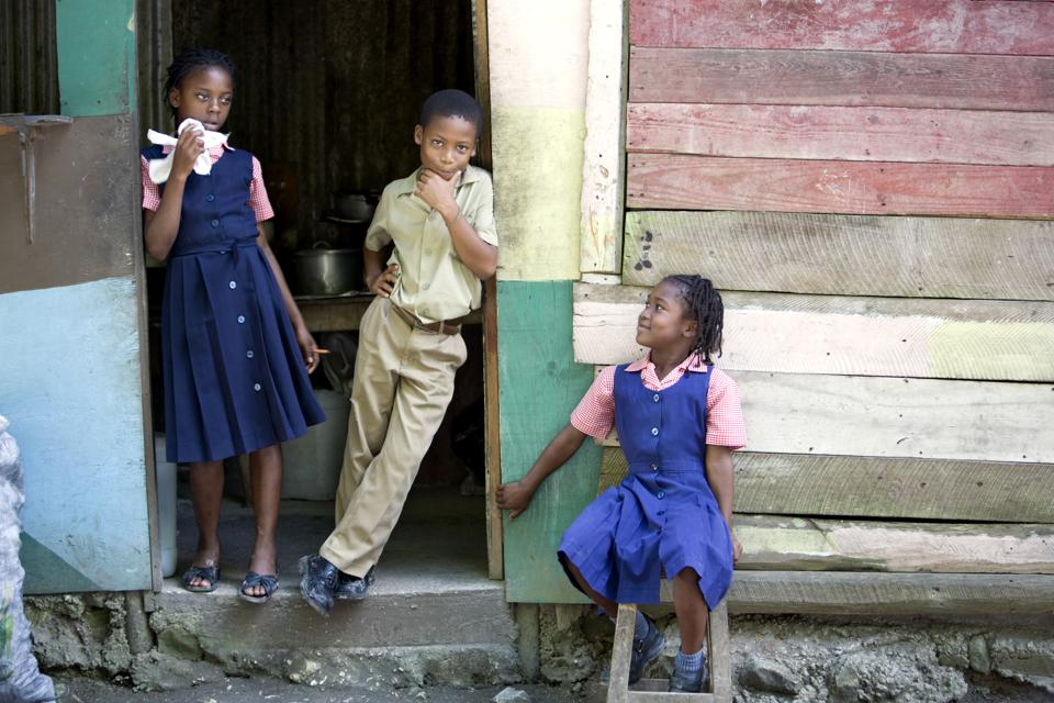 Portrait of school students, Jamaica.