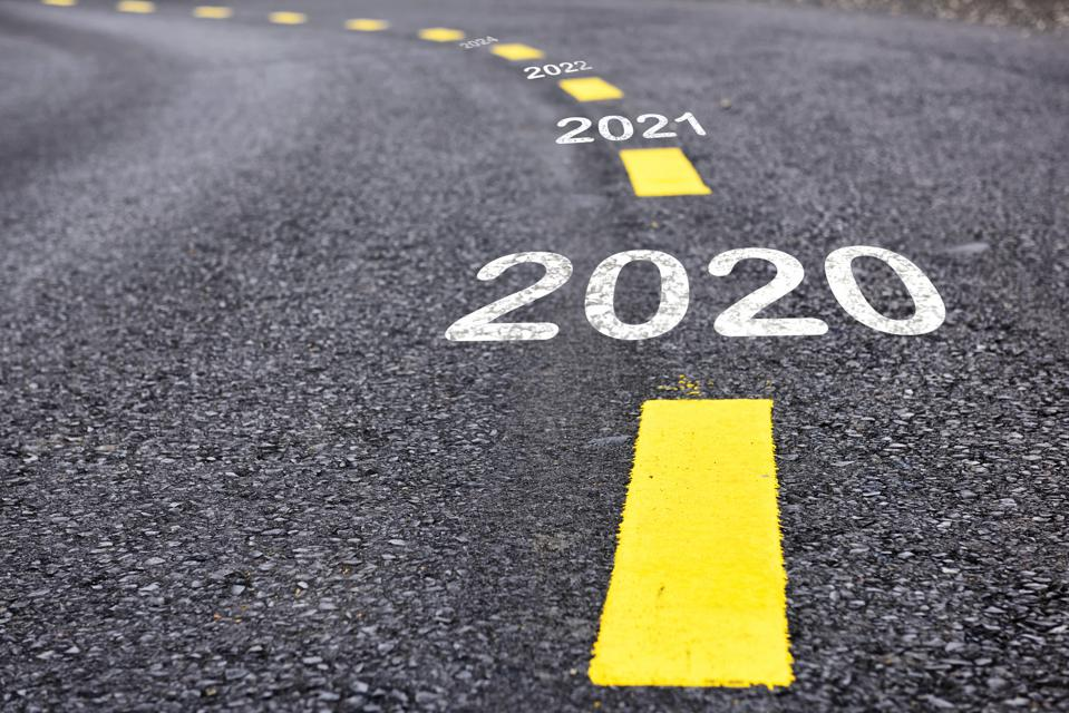 Image of road with year starting 2020 written in yellow on it