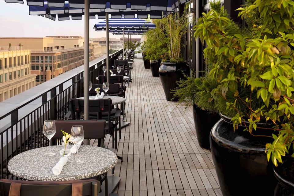 ″Rooftop at Riggs″ offers panoramic views  and a casual menu of aperitifs and cocktails.