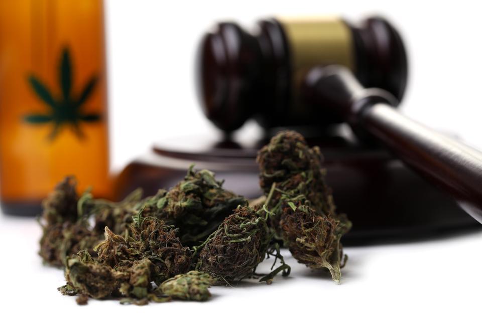 Huile de CBD Marijuana grass with judge hummer isolated