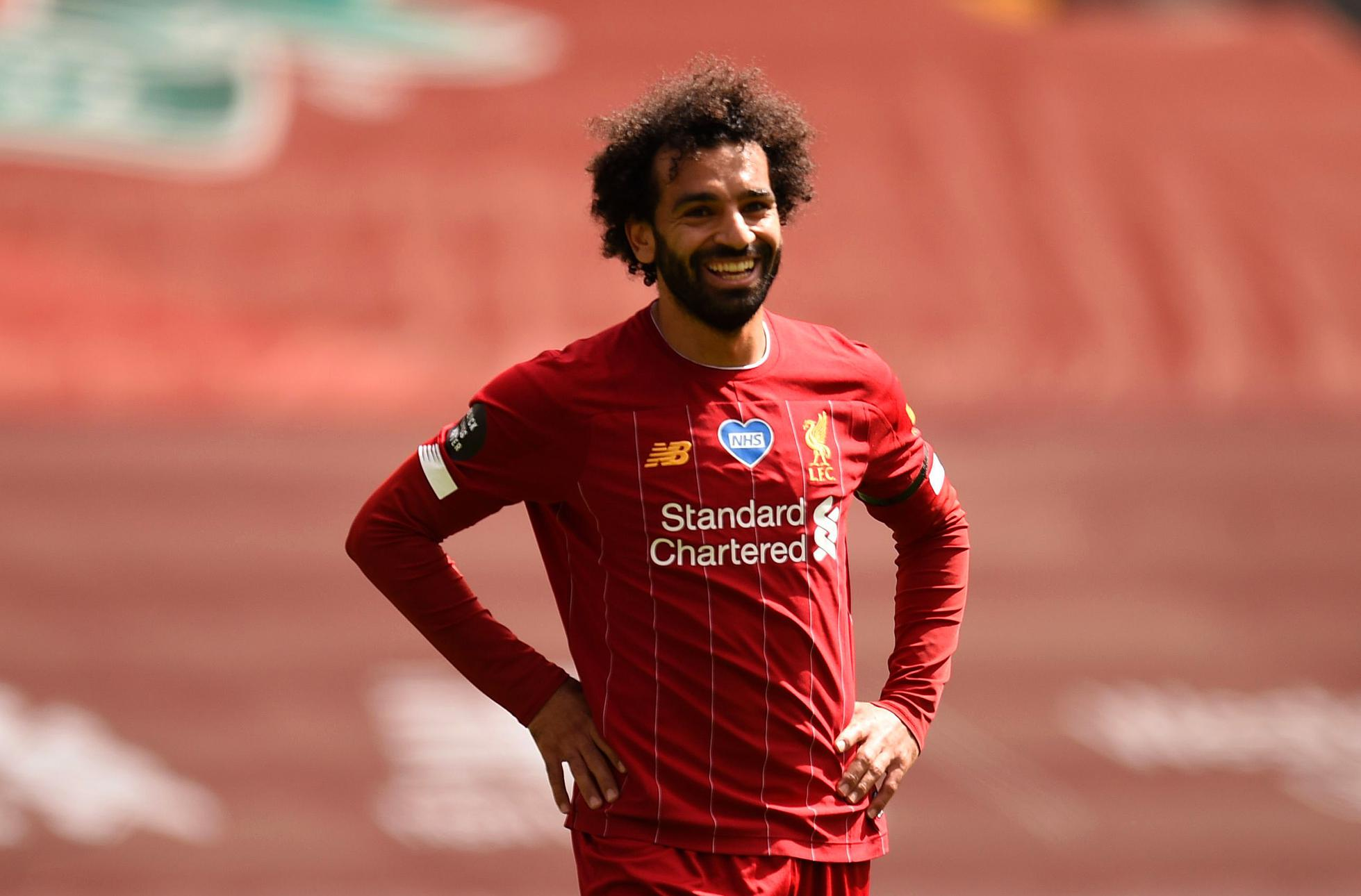 Mohamad Salah appearing for Liverpool.