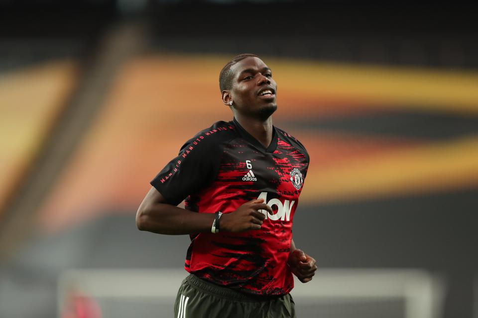 Paul Pogba appearing for Manchester United during the UEFA Europa League Semi Final.