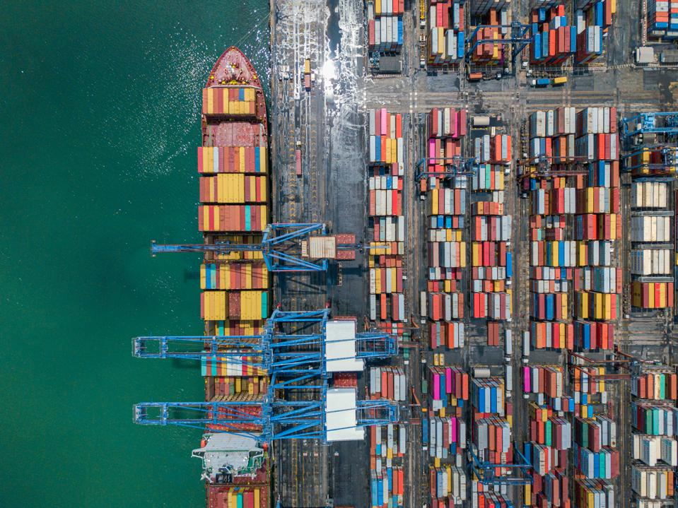 Aerial view Container cargo ship in Terminal Port,Industry business logistic and transportation in Thailand