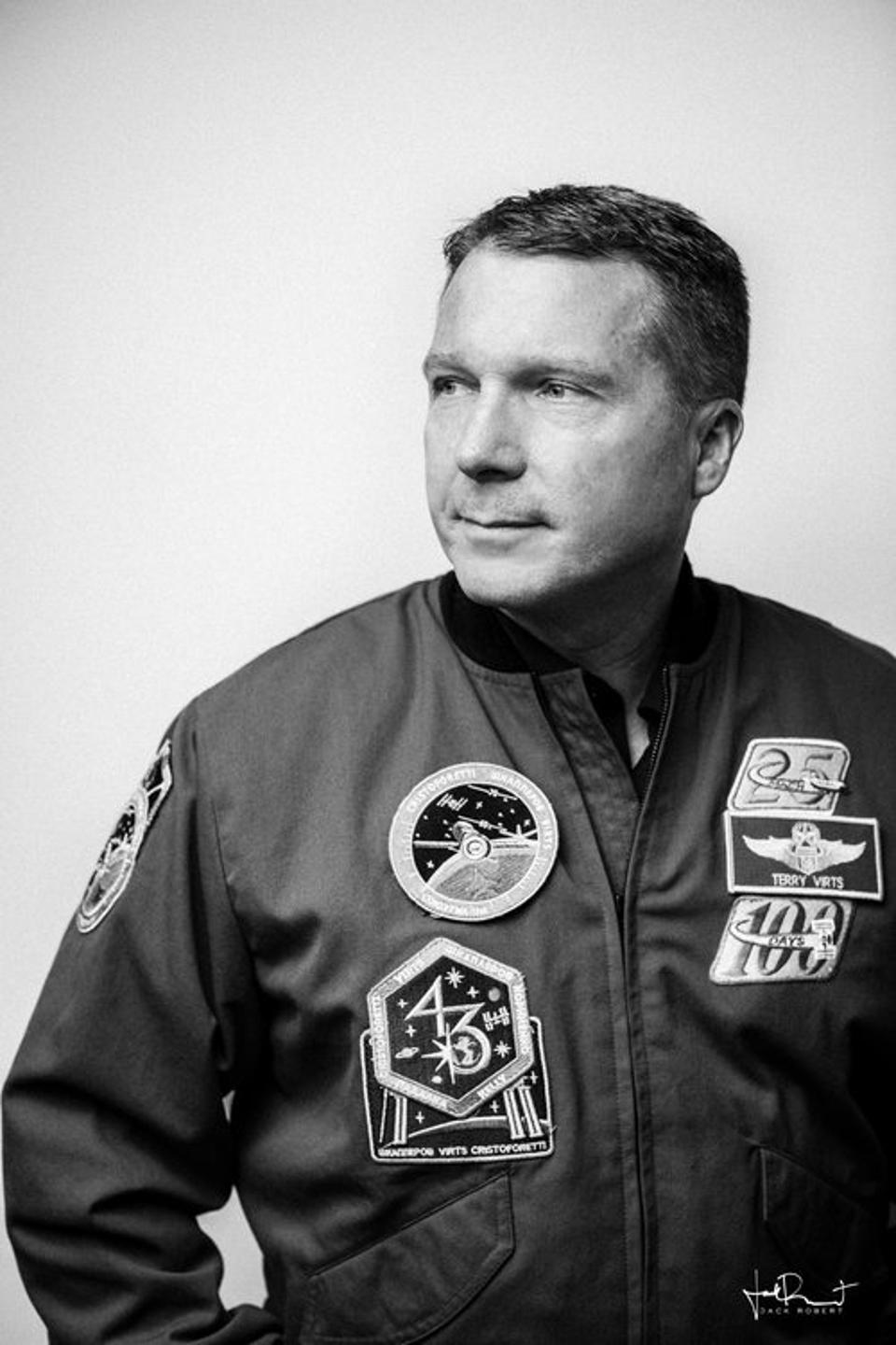 Astronaut and former Colonel Terry Virts in his NASA jumpsuit
