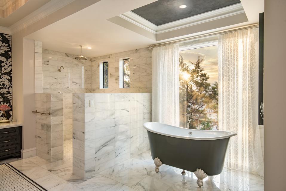 Bathroom with circadian lighting.