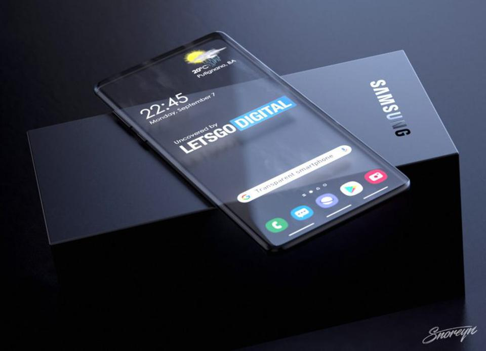 Concept image of a transparent Samsung Galaxy smartphone.