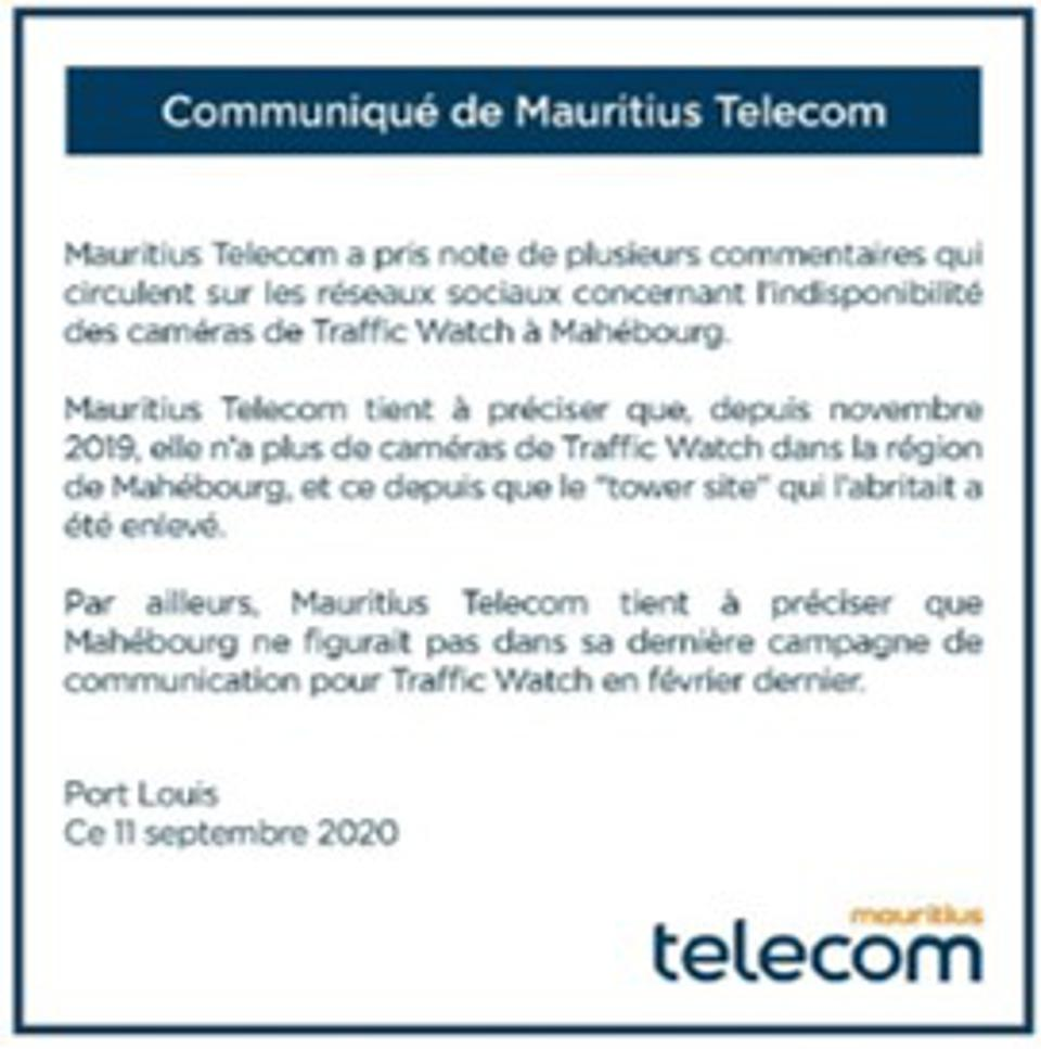 11 September 2020: announcement by Huawei-supported Mauritius Telecom that all traffic cameras (called 'Traffic Watch') in the South of the island were removed.
