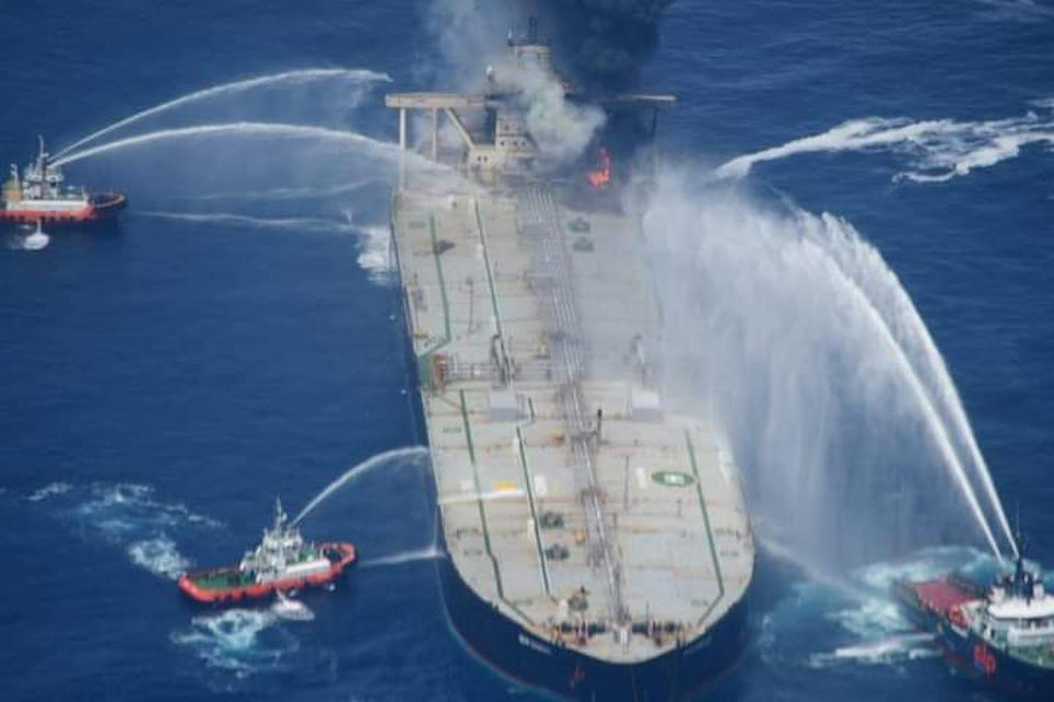 Major alert in Sri Lanka last week as Panama flagged oil supertanker catches fire last week.  The rescue operation involved ships from 3 nations.