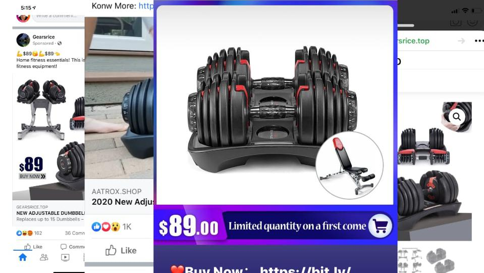 Fake fitness products, including Bowflex, advertised on Facebook and delivered via Shopify stores.