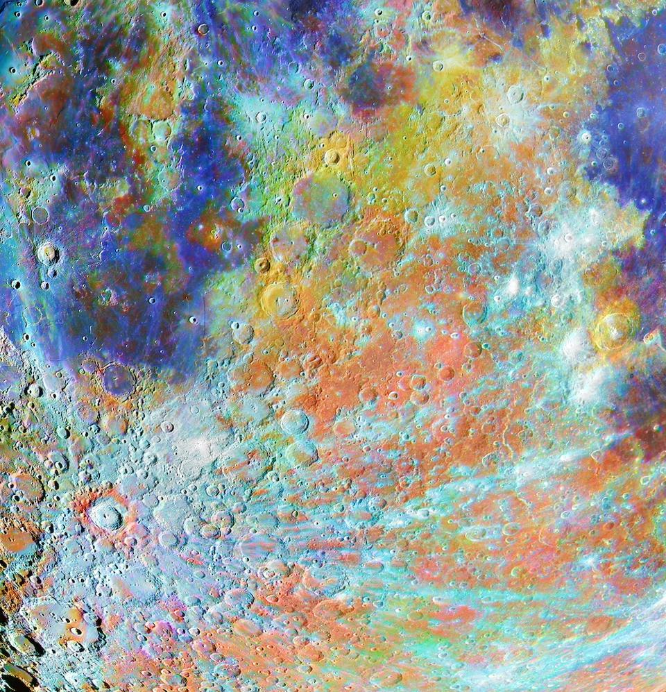 Tycho Crater Region with Colours.