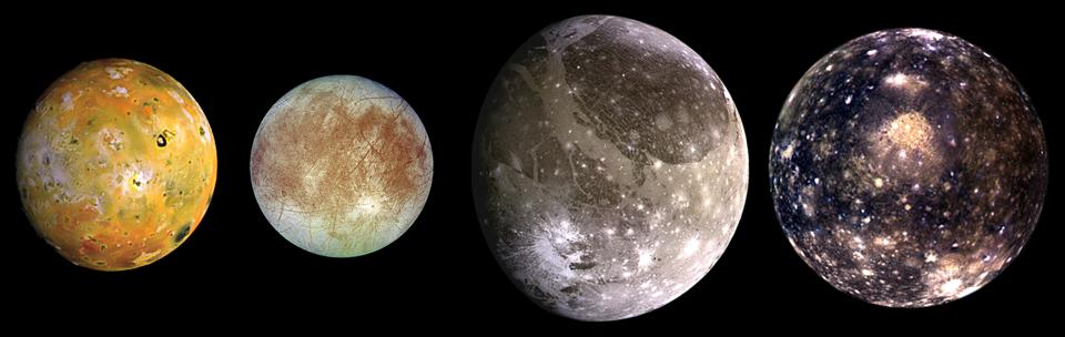 The four largest moons of Jupiter, from left to right: Io, Europa, Ganymede and Callisto.