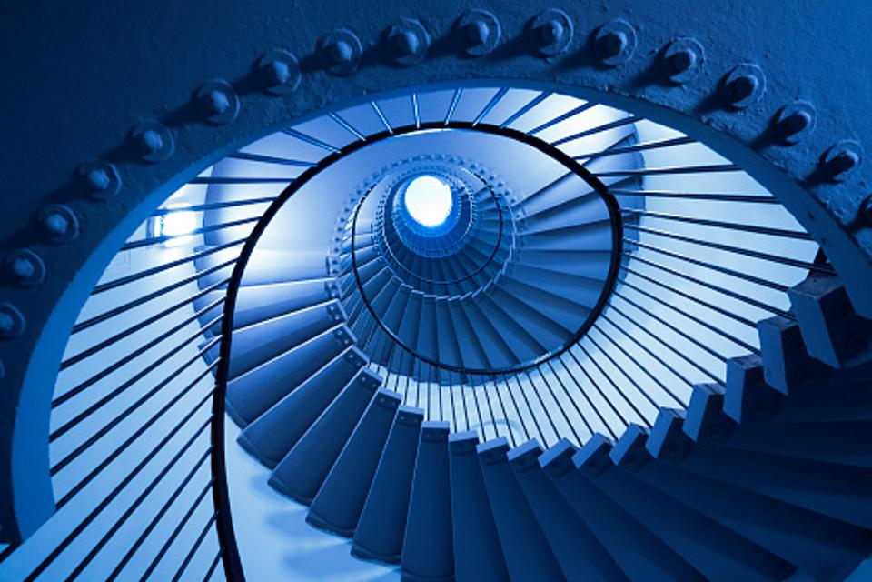 blue winding stairwell