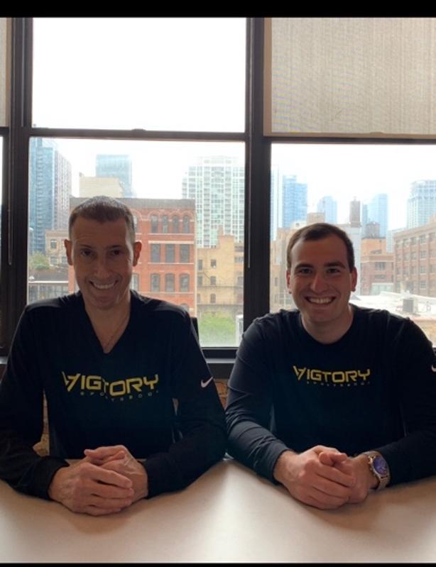 Sam Rattner and Scott Butera, cheif executives of the sports gambling startup Vigtory.com