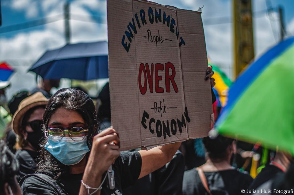 12 September 2020: protestors were also calling for a new economic model for the island economy