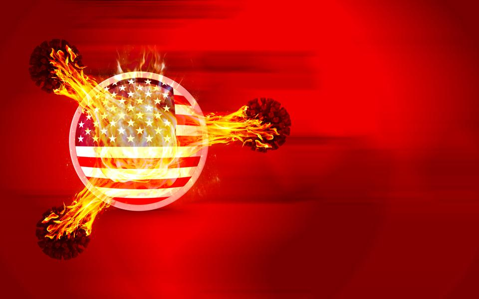 Coronavirus Covid-19 Viruses are Firing Up American Flag and Flag Burns